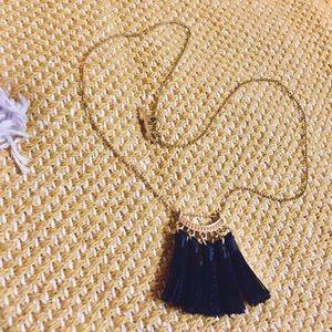 "• UO • gold dainty black tassel necklace 18"""